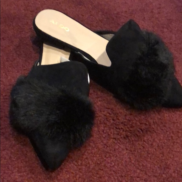 a437f7fdd9c Aldo Black and faux fur Mules. Size 10 BNWOB. M 5bd5dcee0cb5aa383aabf9bf